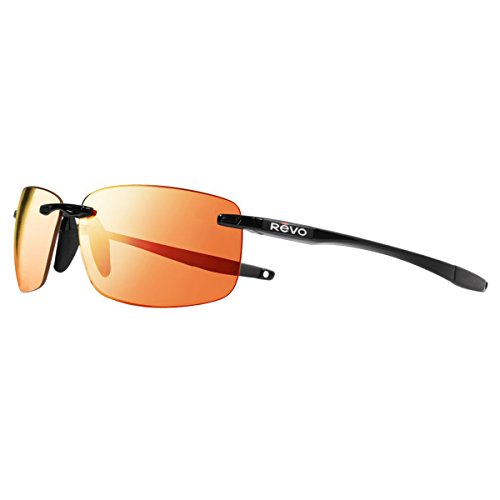 Revo Descend N RE 4059 01 OG Polarized Rectangular Sunglasses, Black/Solar Orange, 64 - Revo Sunglasses Descend N