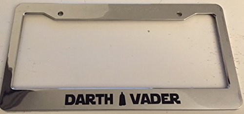 Darth Vader With Image   Chrome Automotive License Plate Frame   Death  Star, Frames   Amazon Canada