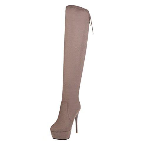 Enmayer Kvinna Flock Material Höga Klackar Knähöga Over-the-knee Stövlar Skor För Kvinnor Vinterkängor Aprikos