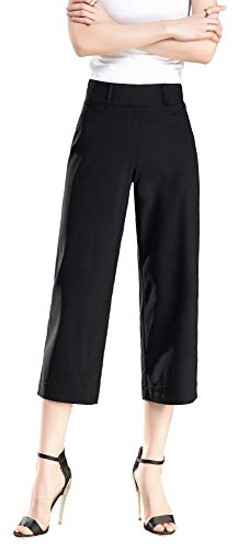 Vocni Women's Capri Pants Bootcut Stretch Cropped Elastic Waist Slim Fit Comfort Pull on Dress Pants Trousers Black_Capri Medium ()