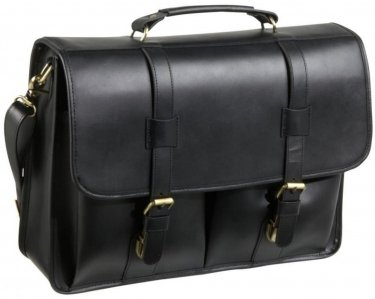 Amerileather Black Leather Executive Briefcase (#42-0)