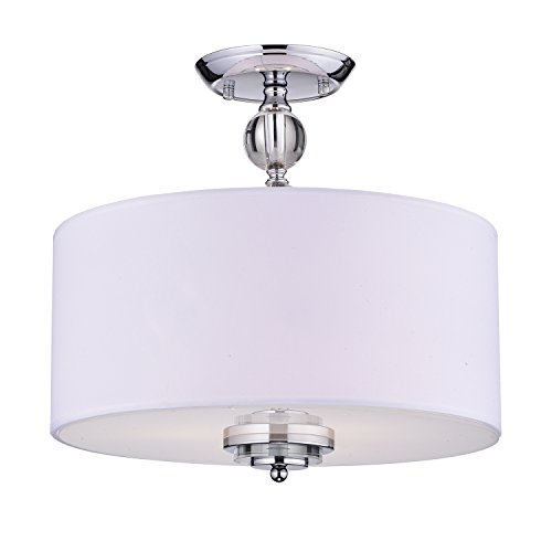 Crystal Decorated Off-White Drum Semi Flush Mount Chrome Chandelier Fixture