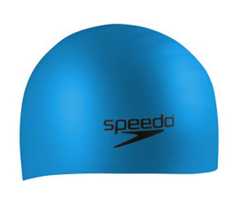 Speedo Silicone Long Hair Swim Cap, Blue, One Size