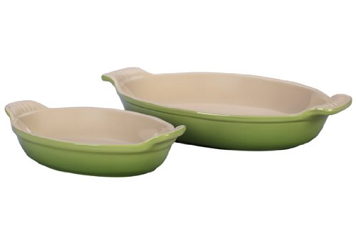 Le Creuset Stoneware Heritage Oval Au Gratin Dishes, Palm, Set of 2 Le Creuset of America PG132028-4P