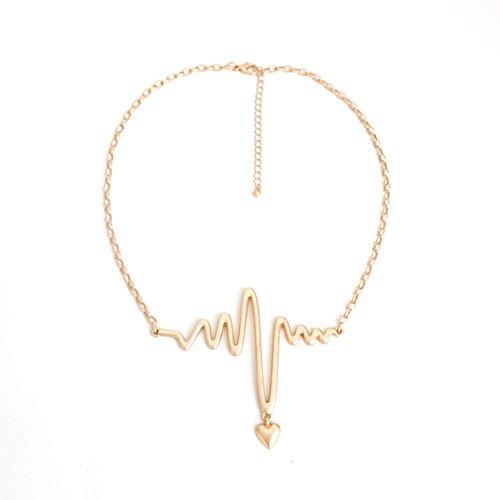 Horseshoe Watch Toggle (HeyGirl Temperament Gold Chian Electrocardiogram Shape Wild Sweater Collar Heart Pendant Choker)
