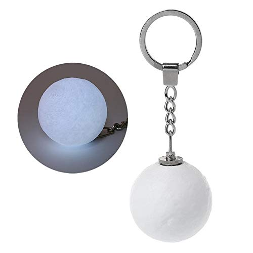 SMALL-CHIPINC - White/ColorfulMoon Shape Luminous Keychain Nightlight 3D Printing Creative Moonlight Gifts