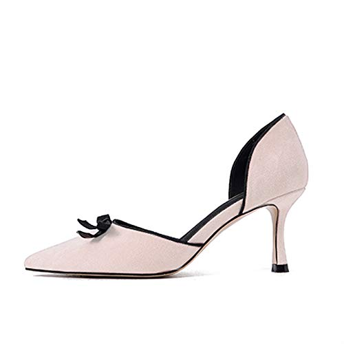 Autumn Fresh Pointed tacón Mouth Shallow de Heels Hollow Female zapatos Small alto Fine Shoes with Beige Wild Single Bow Yukun High ATwIWnqFT