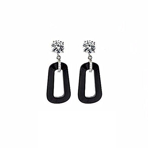 NANA Black Ceramic & Swarovski CZ Dangle - Set Earrings Ceramic
