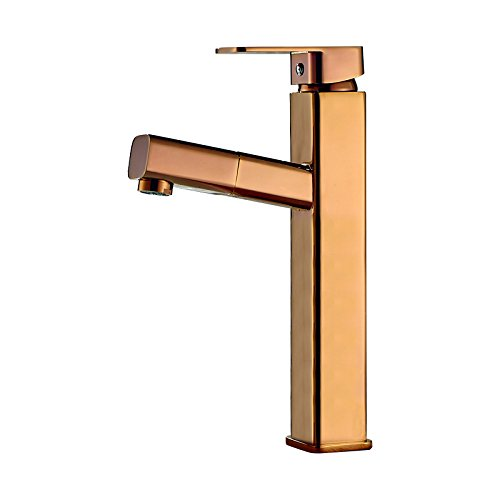 Moned European Style Washbasin Faucet, Basin Hot And Cold Copper Pulling Head, Lengthened Bathroom Washbasin, Head Round, Octagonal, Silver - Short,Imperial Fantasy Round Octagonal Rose Gold - High P - Fountain Octagonal