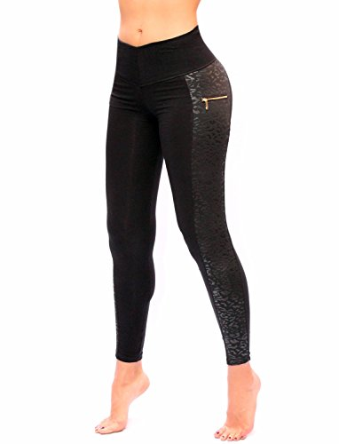 Women Black With Side Pattern Printed Leggings With Slim And Tone Control By Bon Bon Up