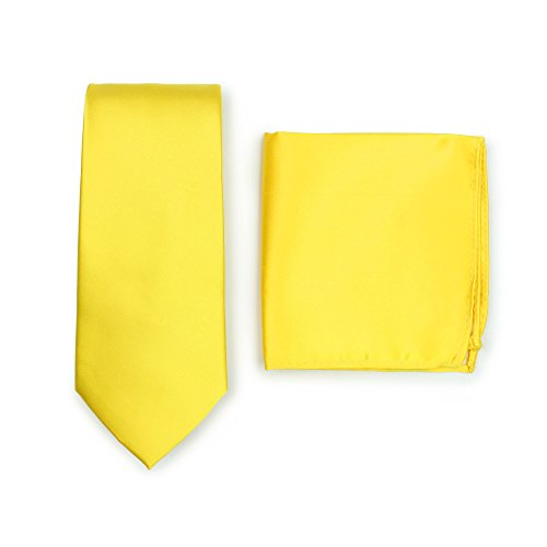 (Bows-N-Ties Men's Solid Necktie and Pocket Square Set (Canary)