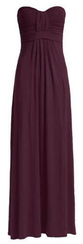Pour Femme Uni Noeud Avant Bustier Viscose Jersey Maxi robe (S/M (UK 8–10), Violet)