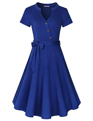 Diphi LiLi Women's V Neck Long/Short Sleeve Button Decoration Plaid Swing Dress (Solid Royal Blue, Large) ()