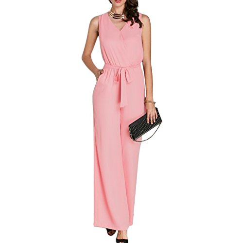 Pink Jumpsuit (Metup Women Sexy V Neck Sleeveless Belted Party Jumpsuit Romper Clubwear Pink 2XL)