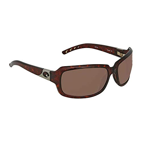COSTA DEL MAR Women's Isabela Polarized Wrap Sunglasses, Tortoise, 63.2 ()
