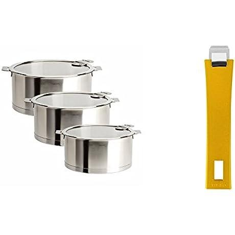 Cristel S3CQLKSA Sauce Pans With Flat Glass Lids Set Of 3 1 5 Quart 2 Quart 3 Quart Silver With Cristel Mutine Pmaj Handle Long Yellow