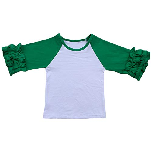 Little Girls 3/4 Sleeve Icing Ruffle T-Shirt Top Halloween Xmas Raglan Sleeve Toddler Baby Boutique Baseball Tee Shirt Green 18-24 -