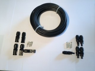 50 ft. Solar Cable Bulk #10 - 1000 VDC copper 19 strand Black Solar PV Cable Kit with 5 pairs of MC4 Connectors
