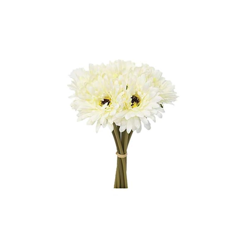 silk flower arrangements sweet home deco 13'' silk artificial gerbera daisy flower bunch (w/ 7stems, 7 flower heads) home/wedding (white)