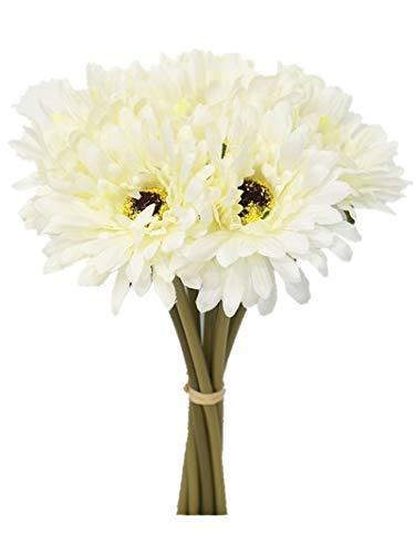 (Sweet Home Deco 13'' Silk Artificial Gerbera Daisy Flower Bunch (W/ 7stems, 7 Flower Heads) Home/Wedding (White))