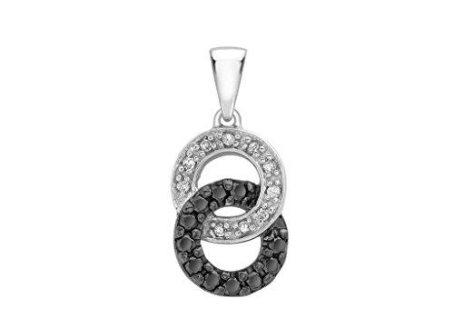 Or blanc 9carats Diamant Noir et Blanc Cercle Pendentif