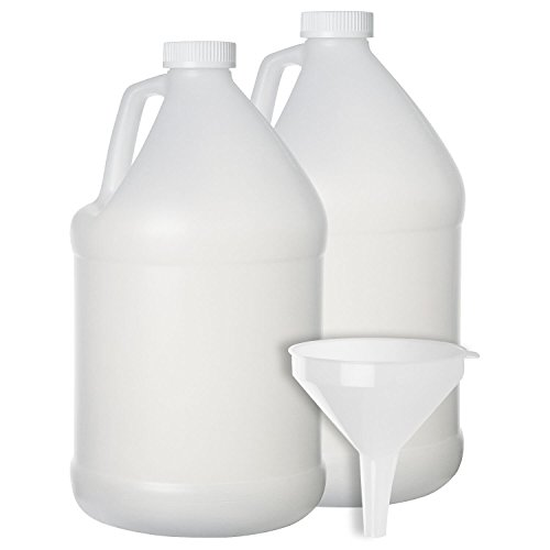 2 Pack - 1 Gallon Plastic Bottle - Large Empty Jug Style Container with Child Resistant Airtight Lids - for Home and Commercial Use - Food Safe BPA Free (1 128 Gallon Oz Bottle)