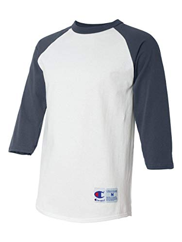Champion Men's Raglan Baseball T-Shirt, White/Navy, Small (Navy Raglan Baseball Tee)