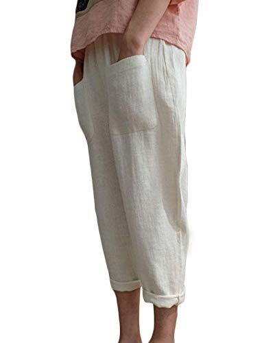 Jenkoon Women's Linen Cotton Elastic Waist Pants Casual Tapered Cropped Pants Trousers (White, Medium) ()