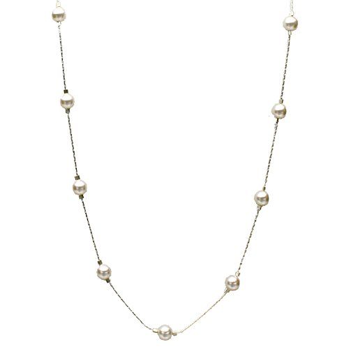 Sterling Silver Chain Station Illusion Necklace Made with Swarovski Crystal Simulated Pearls, -
