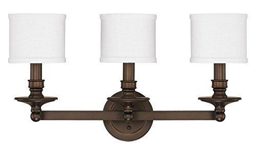 Burnished Bronze 3 Light 25.5in. Wide Bathroom Vanity Light from The Midtown Collection