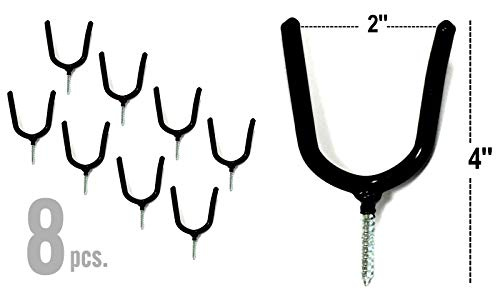 "ALAZCO 8 Black Vinyl Coated Steel Wall Mount Screw-in Heavy Duty Tool Holders 4"" Utility U-Hooks for Garage Workshop Storage Hang Shovels Rakes Brooms Garden Tools Sports Equipment Tennis Racket"