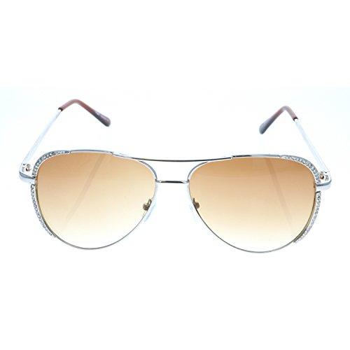 Classique Femmes Lunettes en Mode Aviator soleil Vintage de de Vox strass Argent Cadre Eyewear Ambre lentille Designer Chic wd8vqd