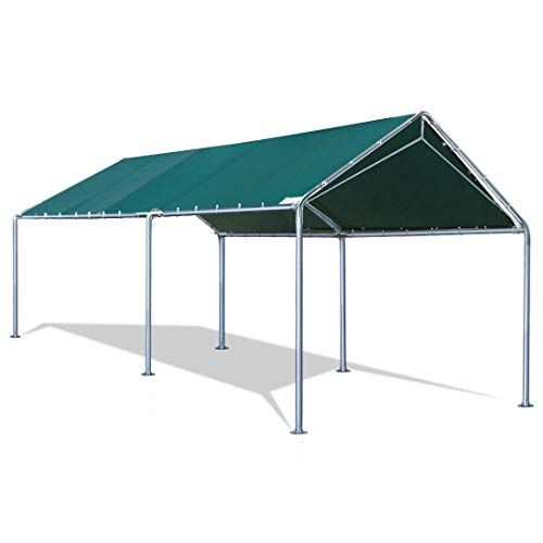 Quictent 10X20'ft Upgraded Heavy Duty Carport Car Canopy Party Tent with 3 Reinforced Steel Cables-Green (2 Carport Canopy)