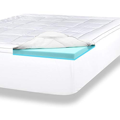 ViscoSoft 4 Inch Pillow Top Gel Memory Foam Mattress Topper | Queen Mattress Pad | Made in USA - CertiPUR-US | Luxury Dual Layer with Quilted, Down-Alternative ()