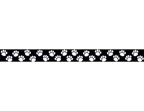 Teacher Created Resources Paw Prints Straight Border Trim, Black/White (4642)