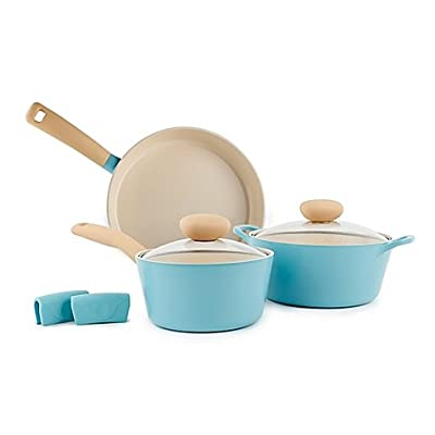 Neoflame Retro Nonstick Ceramic 5-Piece Cookware Set in Mint