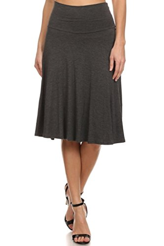 (12 Ami Solid Basic Fold-Over Stretch Midi Short Skirt Charcoal Small)