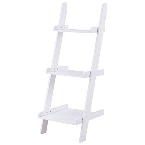 Safeplus Three-layer rack Wooden shelf Home E1 MDF 3-Shelf Ladder Bookcase, White Review