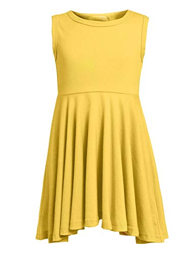 Arshiner Little Girls Sleeveless Casual Ruffle Dress,Yellow,130(Age for 9-10Y) ()
