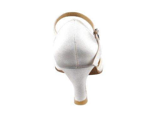 Delle Donne Delle Signore Della Sala Da Ballo Scarpe Da Ballo Molto Fine Eksa3540 Sieri 2,5 Tallone Con Le Protezioni Del Tallone Raso Bianco