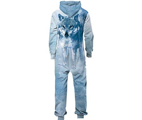 Adult Unisex Hoodie Pajamas Polyester Sportswear Jumpsuit Wolf