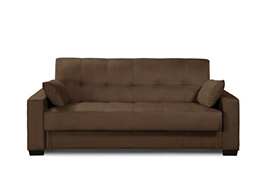 Pearington MIA-BRW-95 Mia Sofa Bed- Microfiber, Multi Position Bedroom, Living Room, or Office Futon Couch Sleeper and Lounger with Extra Storage under Bottom Cushion, Mocha