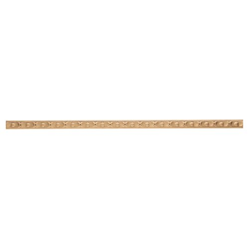 1 11/16''W x 13/16''P, 3'' Repeat, Molding Baguette Astragal, 8' Length, Red Oak by Enkeboll Designs