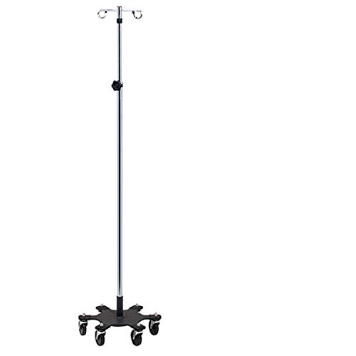 (IV Pole - Infusion Pump - 6 Leg Space Saver w/ 2 Hooks -)