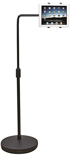Aidata US-2007W ViewStand Universal Tablet Extension Stand, Black; Height adjustable pole, 360 degrees of rotation and swivel, and up to 165 degrees of tilt allow for the most comfortable and ergonomic viewing position