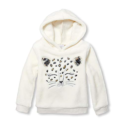 The Children's Place Baby Girls Hooded Pop Over Sweatshirt, Pearly Whites, 5T -