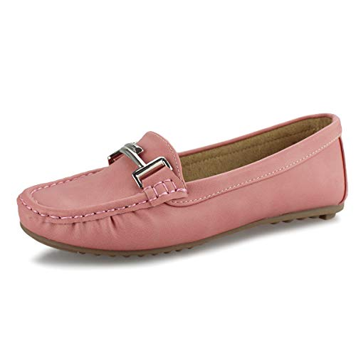 (Hawkwell Women's Slip-on Loafers Flat Casual Driving Shoes,Pink PU,7.5 M)