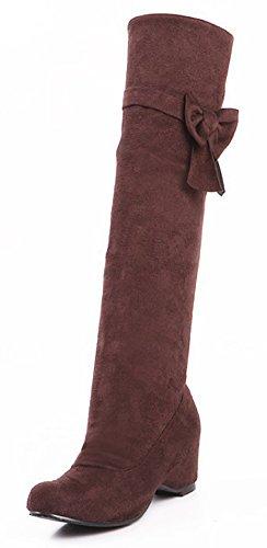 Idifu Womens Chic Hoge Sleehak Stretchy Faux Suede Lange Laarzen Met Strikjes En Strik Bruin