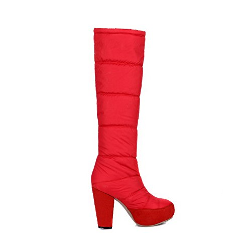 Allhqfashion Women's High-Heels Soft Material High-top Solid Pull-on Boots Red trf8dmimqN