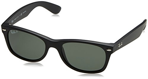 Ray-Ban New Wayfarer Classic, Rubber Black Frame/Polarized Green - Black Ban Ray Wayfarer Matte